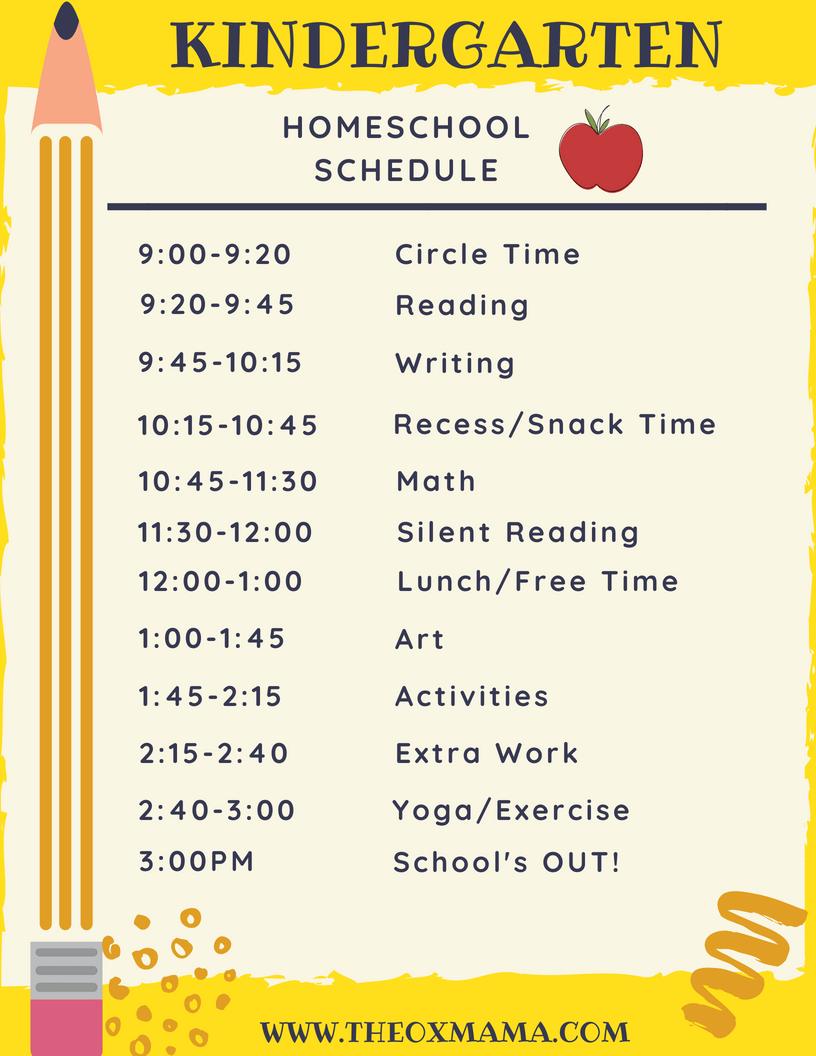 photo relating to Printable Homeschool Schedule called Homeschool Kindergarten Program and Curriculum - The Ox Mama