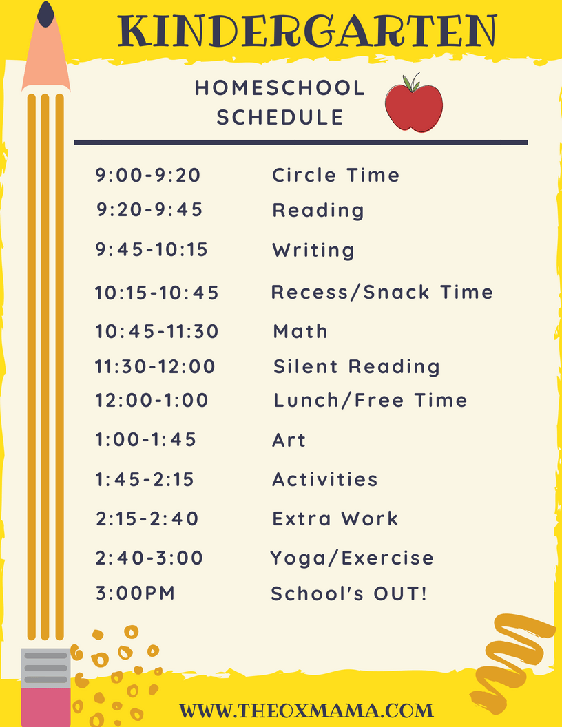 Homeschool Kindergarten Schedule and Curriculum - The Ox Mama