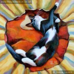 Bertie three hearts -black and white cat oil painting