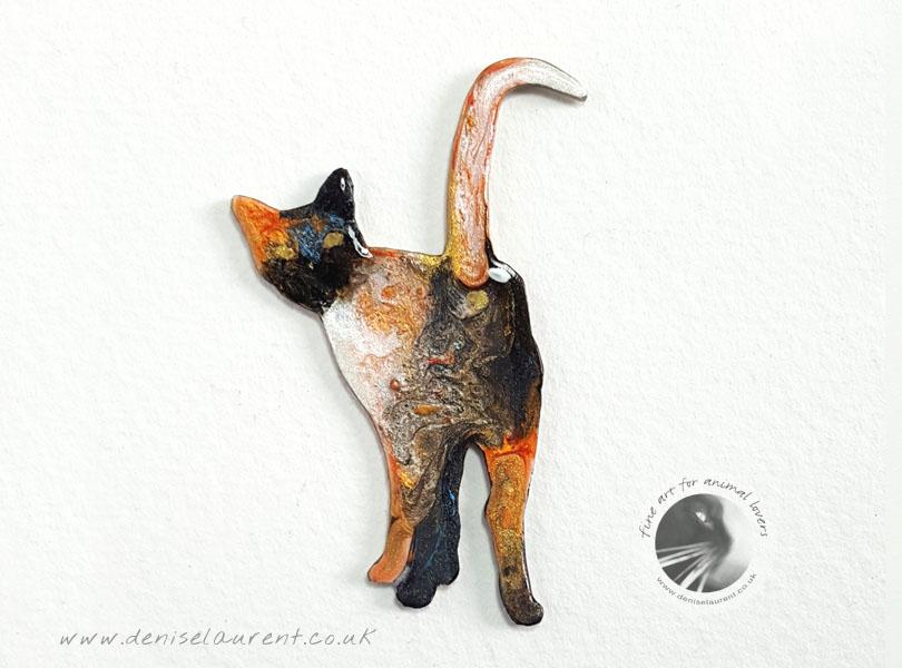 Harry – Standing Tortie Cat Brooch