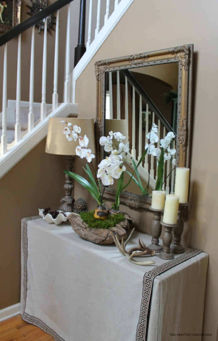 How to make an orchid in a rustic bowl arrangement for Foyer flower arrangement