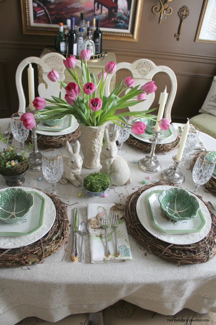 cabbage-bowls-on-italian-lettuce-plates-with-pink- & Pottery Barn Napkins Inspired Easter Table