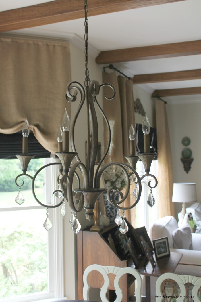 before-old-chandelier-az-faux-beams-project