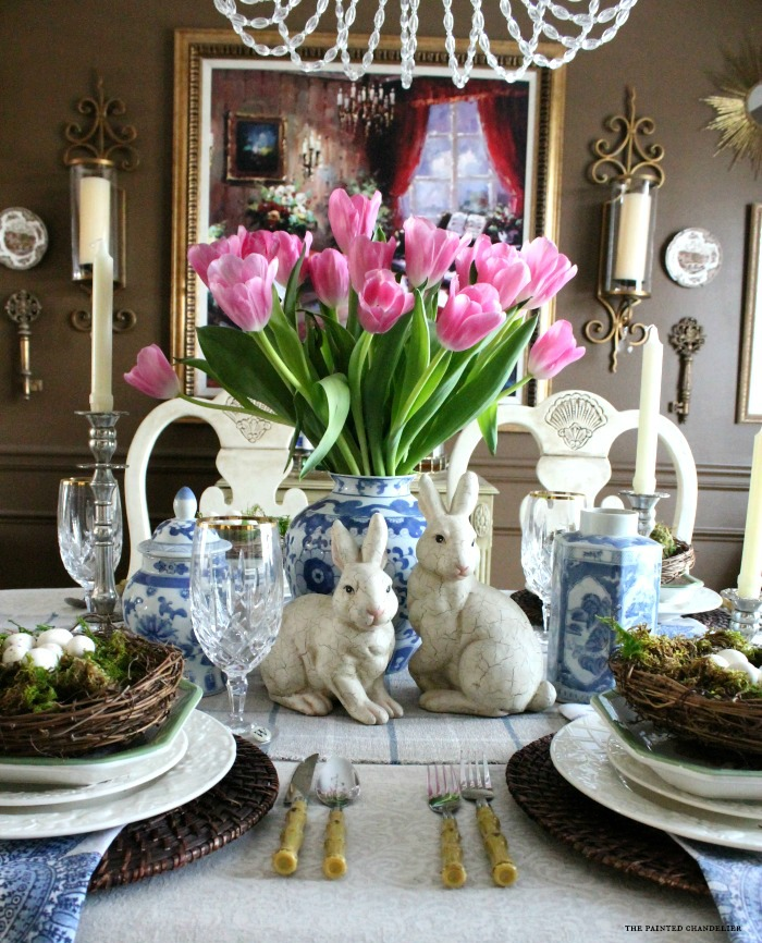 Blue Amp White Easter Table Setting The Painted Chandelier