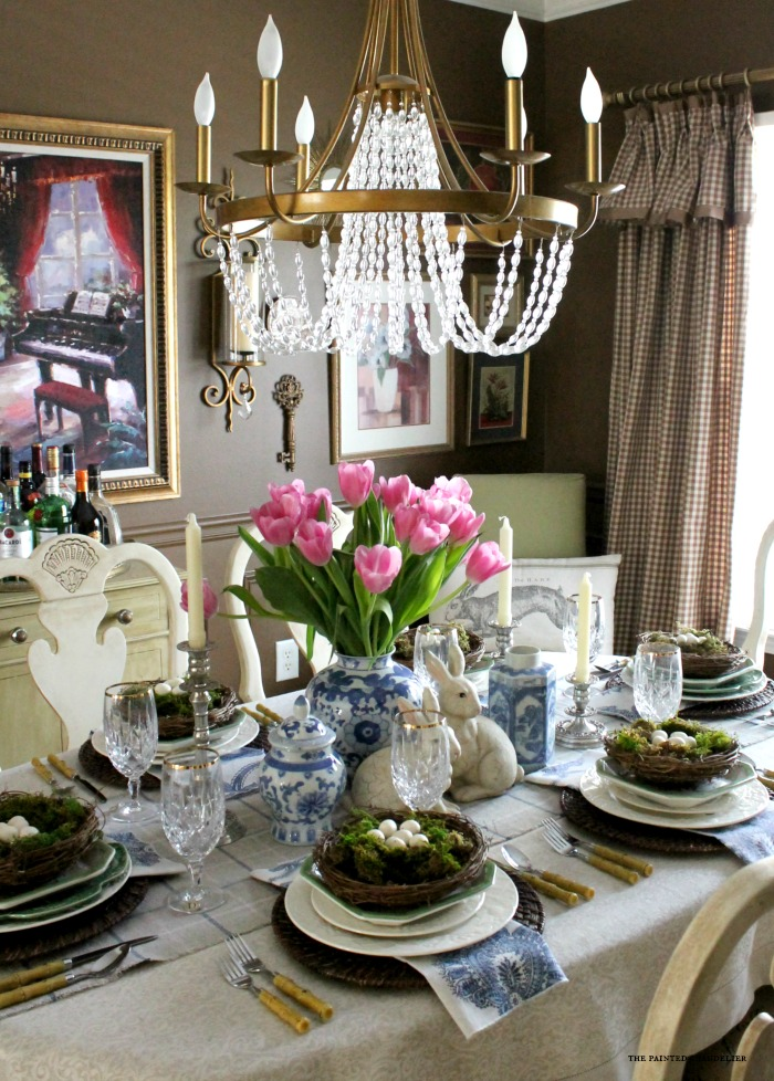 Blue & White Easter Table Setting - The Painted Chandelier