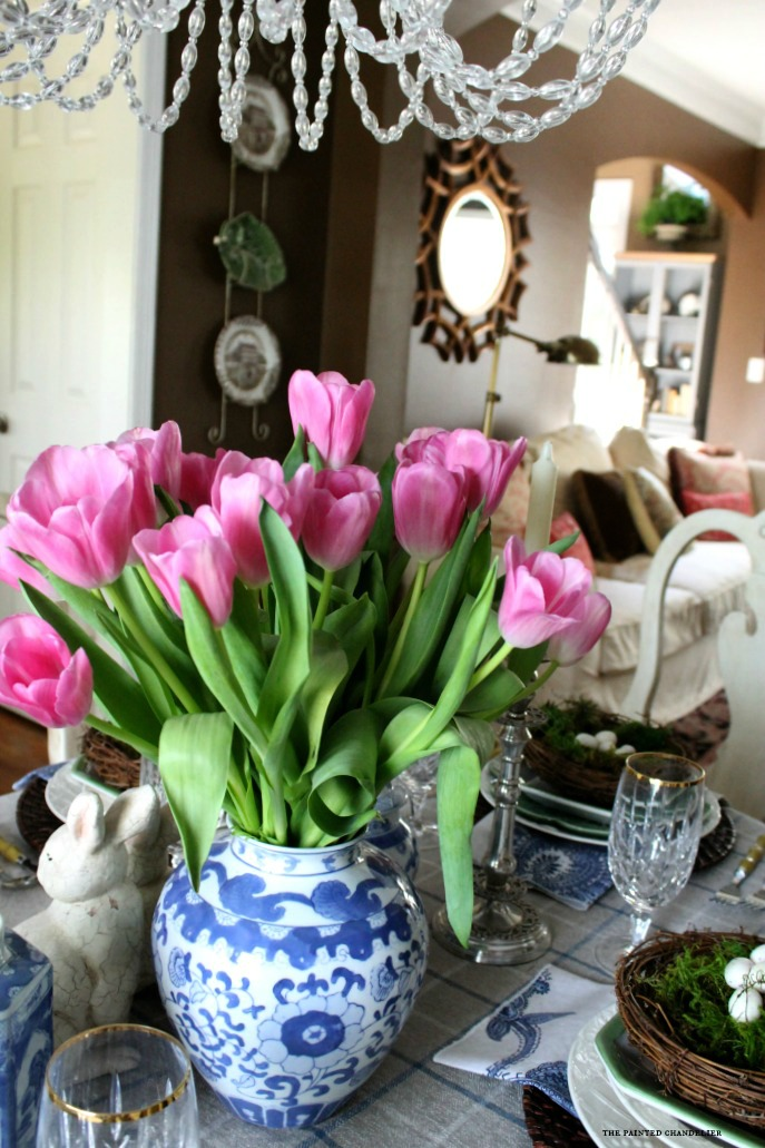 pink-tulips-with-sunburst-mirror-easter-tablesetting-2 & Blue u0026 White Easter Table Setting - The Painted Chandelier