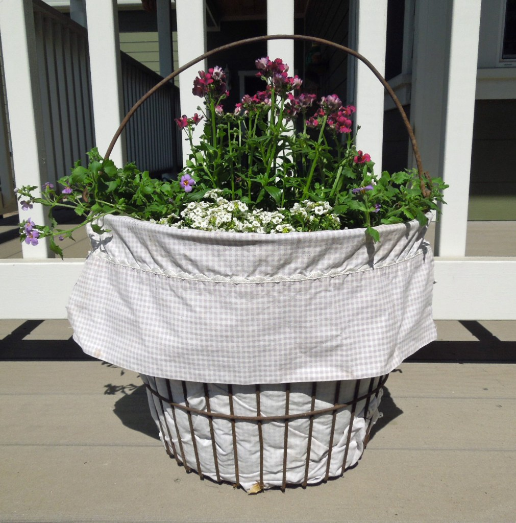 Flower Container Pot Using a Wire Egg Basket and a Pillowcase