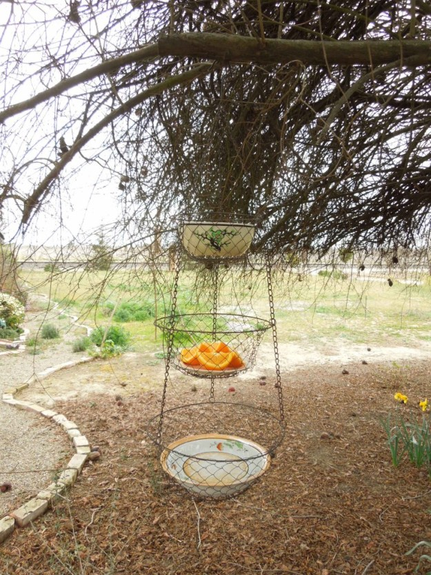 Three-Tier Wire Basket Bird Feeder using Old Plates and Bowls