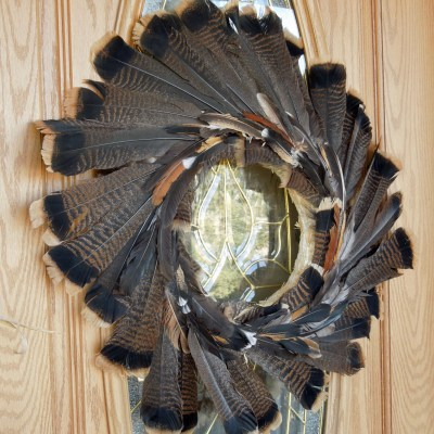 Thanksgiving Wreath Using Turkey & Chicken Feathers!