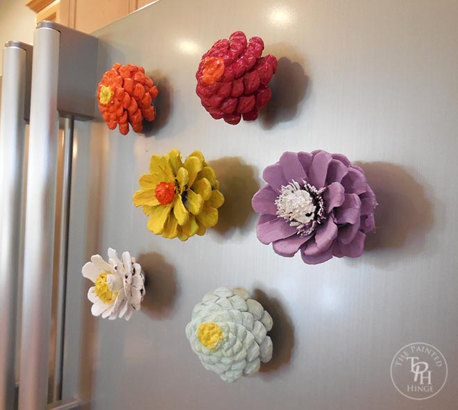 Pine Cone Flower Refrigerator Magnets Tutorial