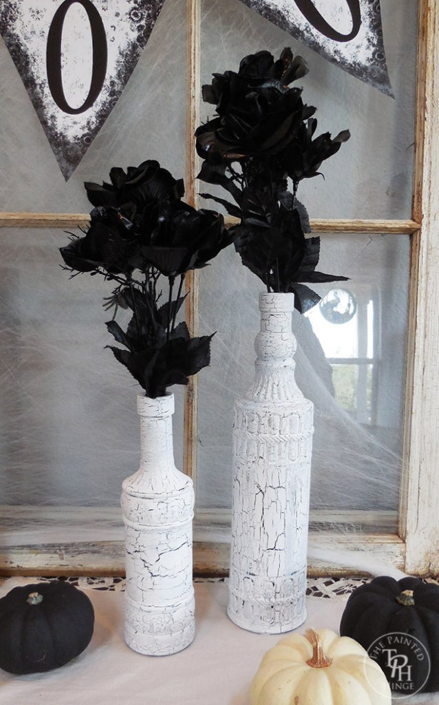 Halloween Crackle Chalk Paint Bottles Dollar Store Makeover
