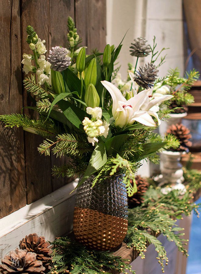 Christmas Fireplace Mantel Featuring ProFlowers Bouquet
