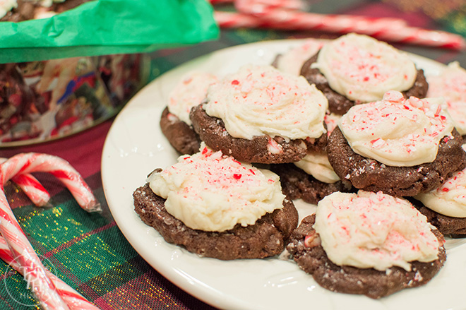 Frosted Chocolate Peppermint Cookies