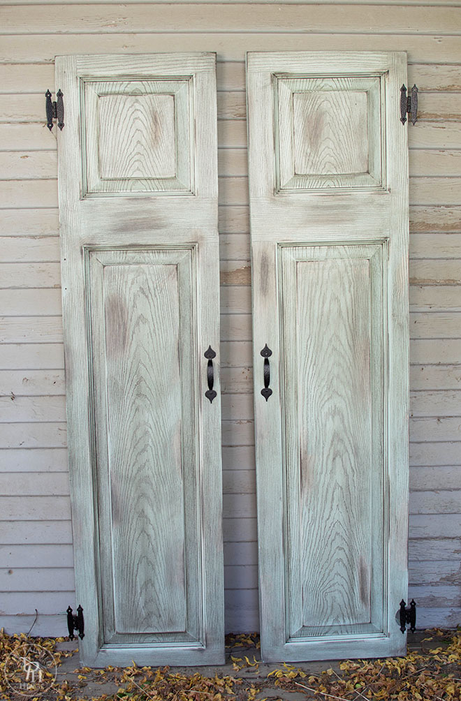 DIY Faux Shutters From A Repurposed Door