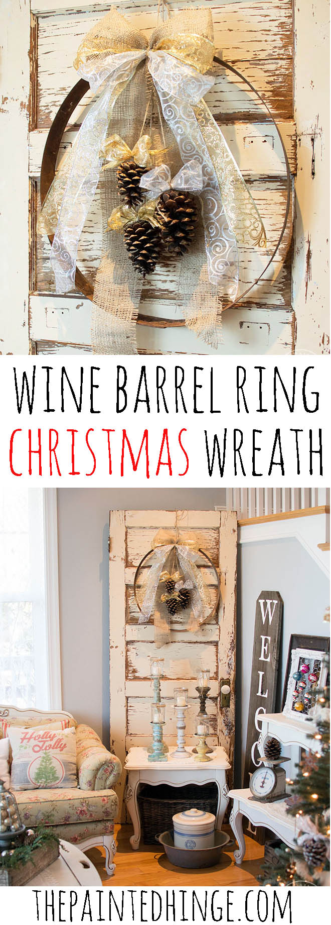 DIY Wine Barrel Ring Christmas Wreath