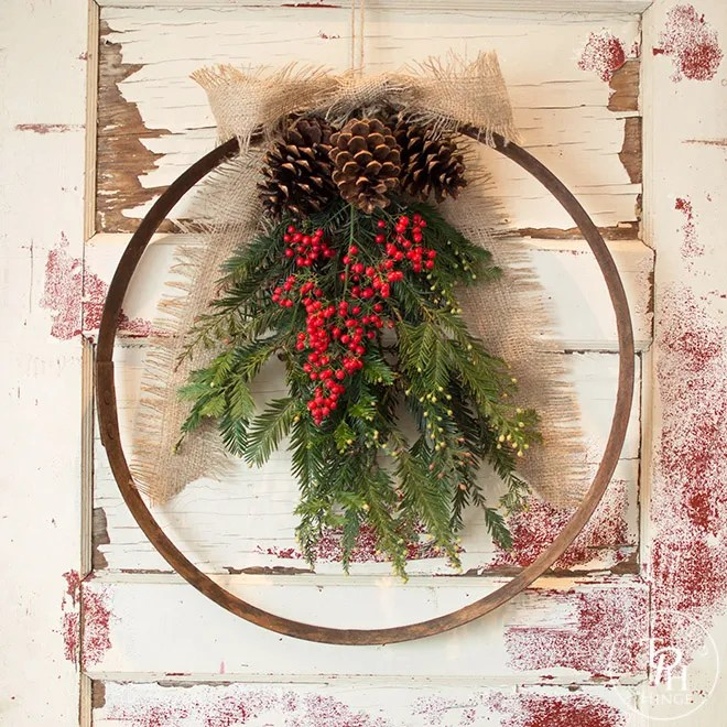 DIY Wine Barrel Ring Xmas Wreath 2.0-2