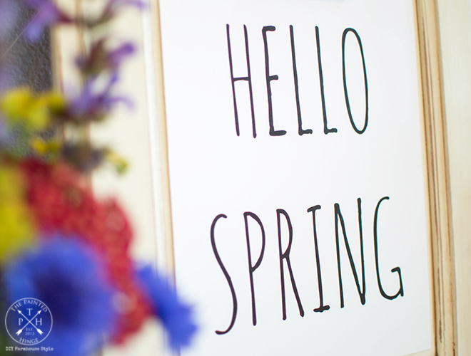 Cabinet Door Clipboard & Hello Spring Free Printable