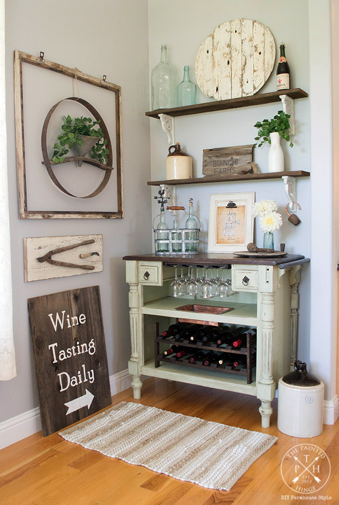 Old Beat Up Cabinet Transformed Into A Wine Bar