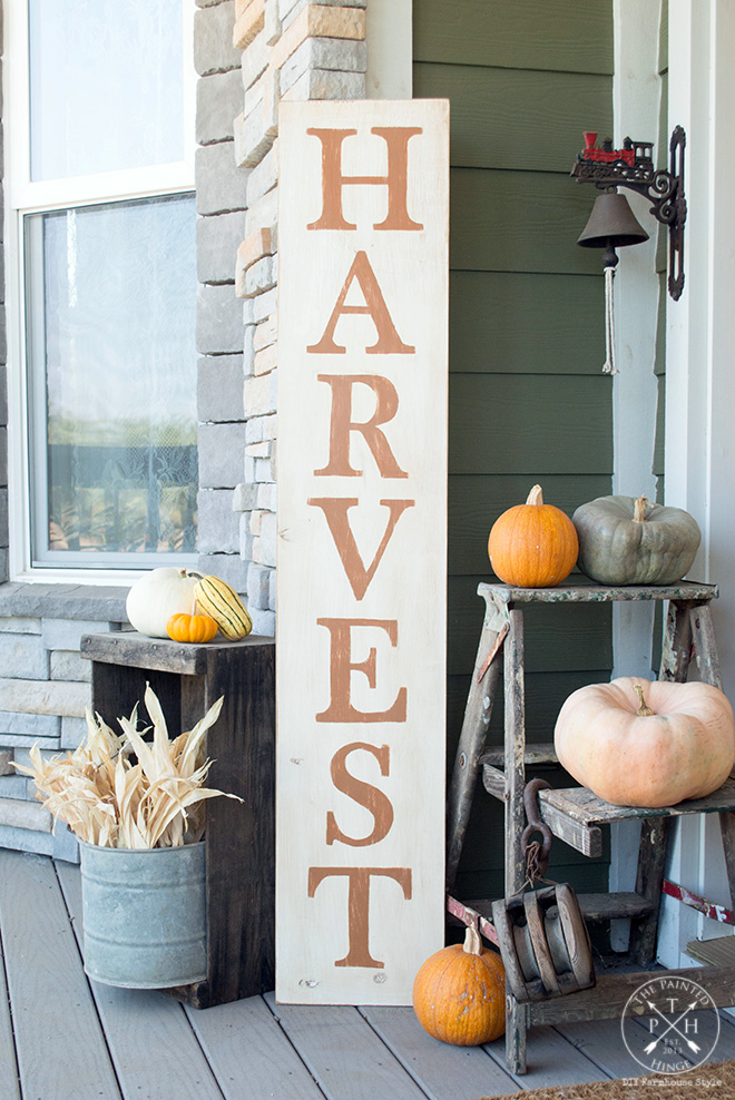 Harvest Sign On Barnwood For Fall Front Porch Decor: Free Printable Letters To Make A DIY Harvest Sign! Stencil