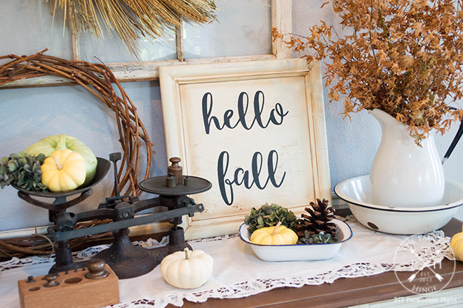 Hello Fall Sign Made From A Repurposed Cabinet Door