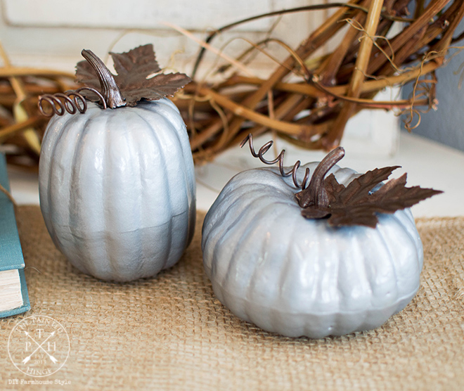 How To Makeover Dollar Store Pumpkins With A Faux Galvanized Metal Finish-2