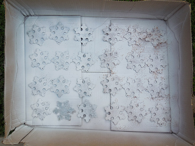 DIY Chalk Paint Wood Snowflake Christmas Ornaments