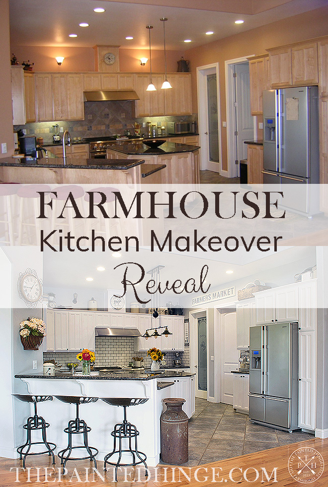 Farmhouse Kitchen Makeover Reveal Pinterest