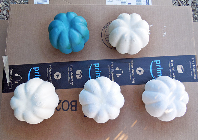 How To Chalk Spray Paint Dollar Store Pumpkins