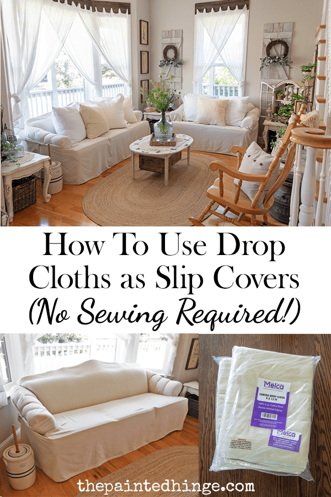 How to use drop cloths as slip covers - no sewing required!