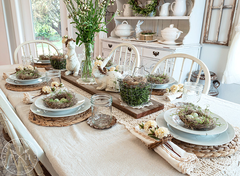 Spring Tablescape in the Dining Room
