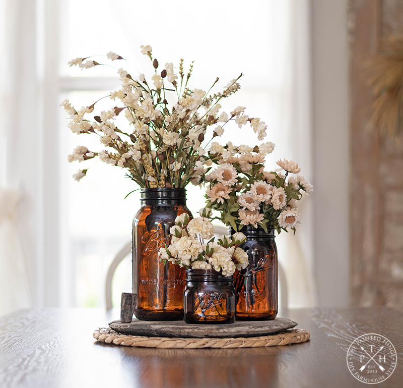 Amber Mason Jar Fall Centerpiece
