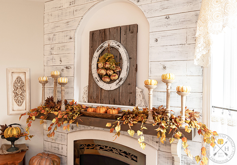 Combining Natural and Faux Elements on a Fall Mantel