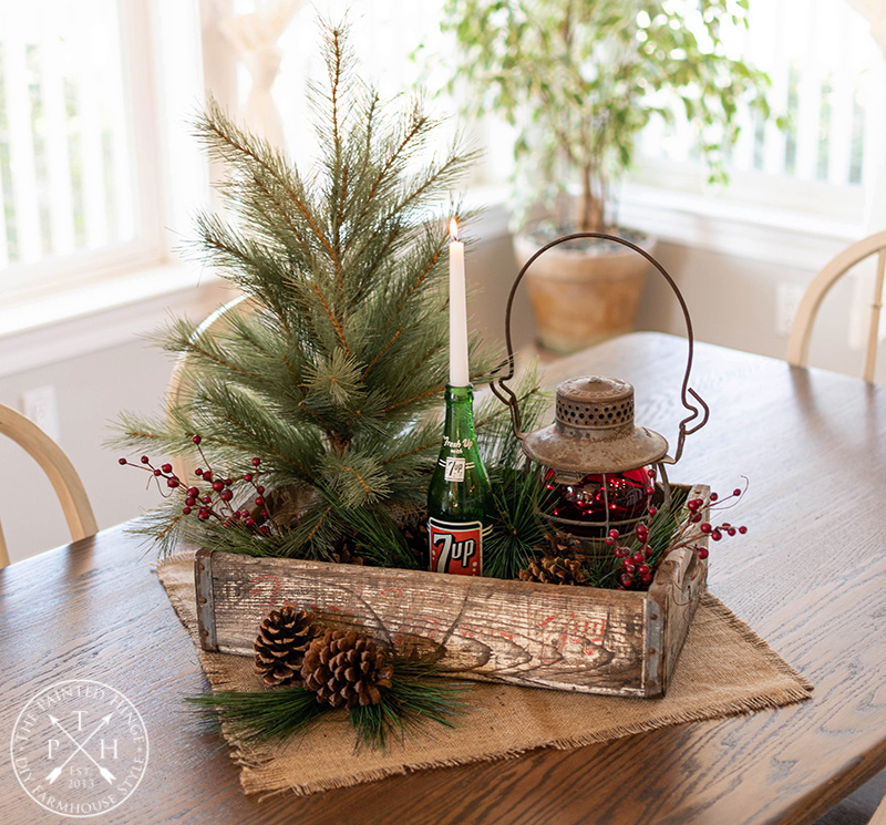 Vintage 7-Up Crate Christmas Centerpiece