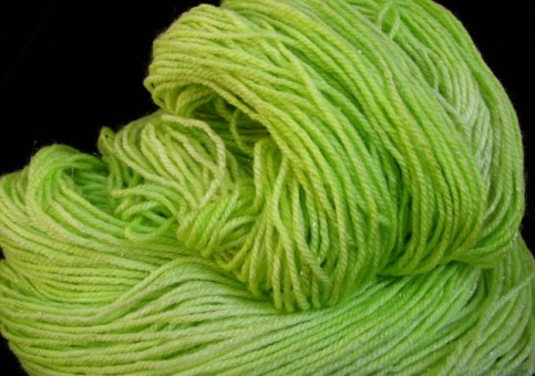 Lime Mojito - Silk and Silver Hand Dyed Yarn