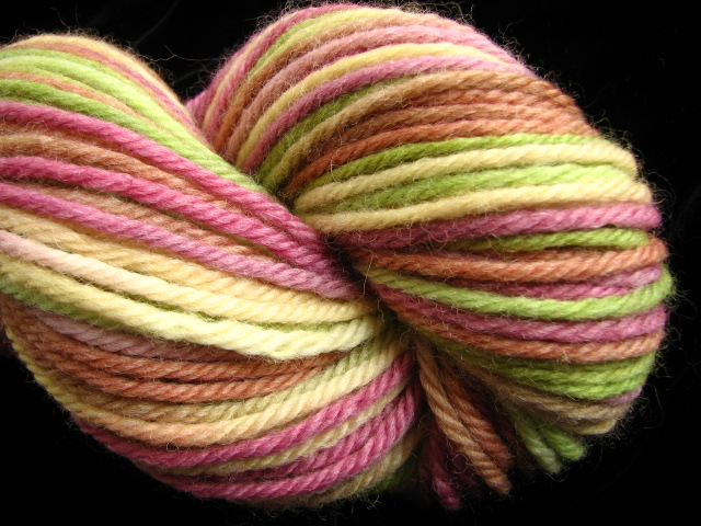 Pine & Burgundy Hand Dyed Bulky Peruvian Wool Yarn