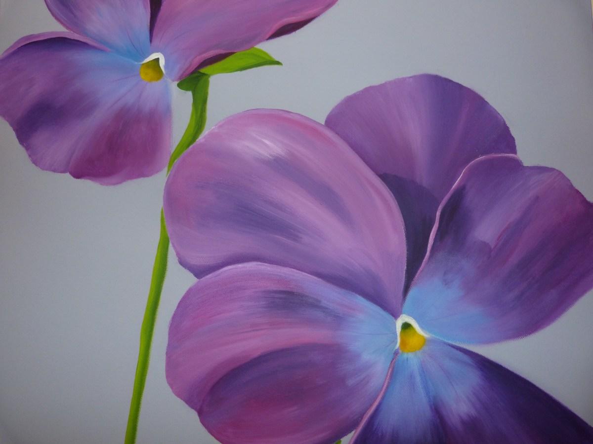 Painting of wild pansies