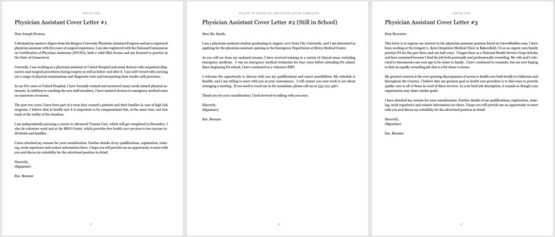 physician assistant cover letters