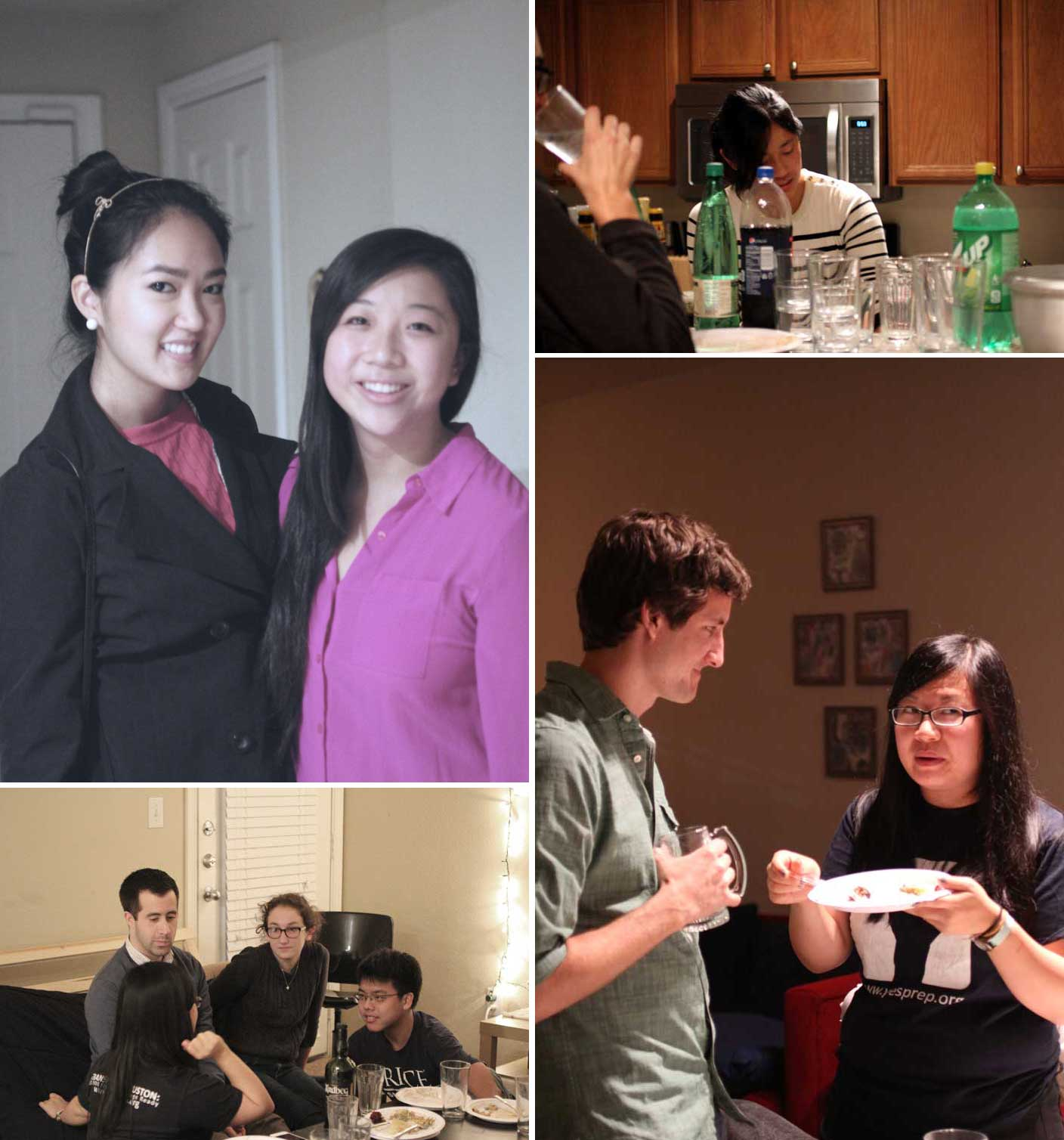 Clockwise from top left: Two of the cutest ladies in the land; I love my sister for many reasons, one of which is she does dishes when she comes over (without being asked!); Lilly + Unkle Erik; pie provokes intense conversations.