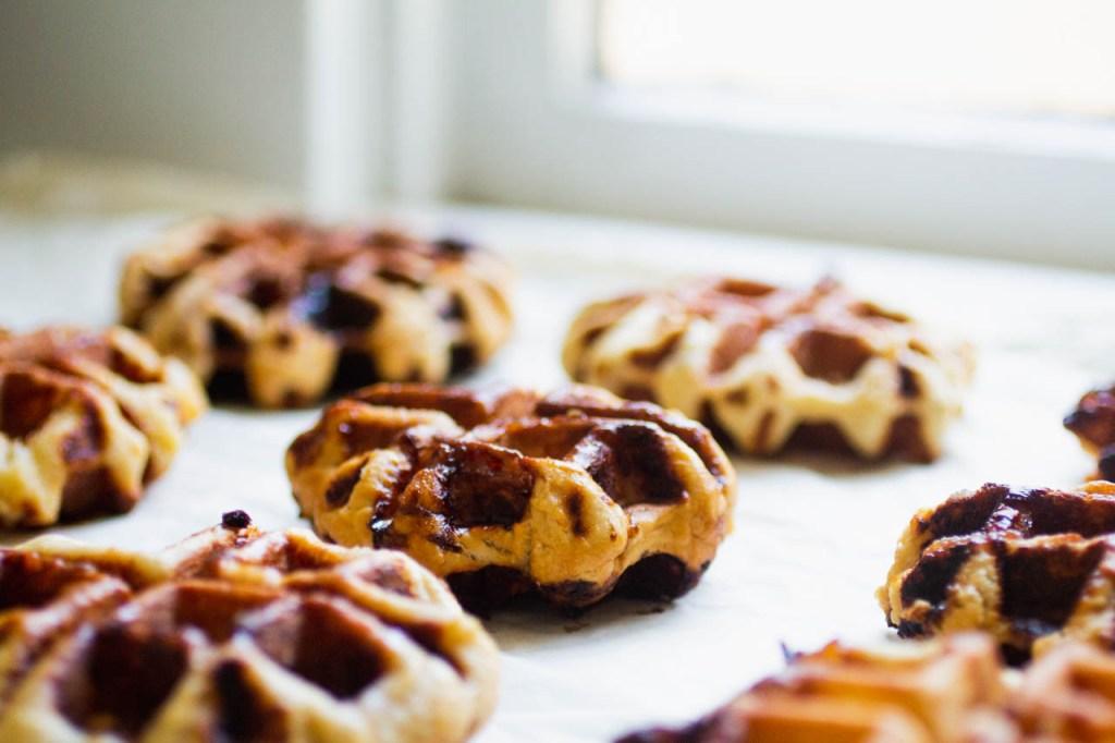 9 liege waffles on a white background near a window
