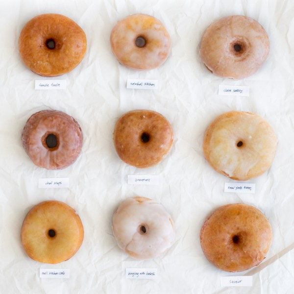 9 donuts on a white background