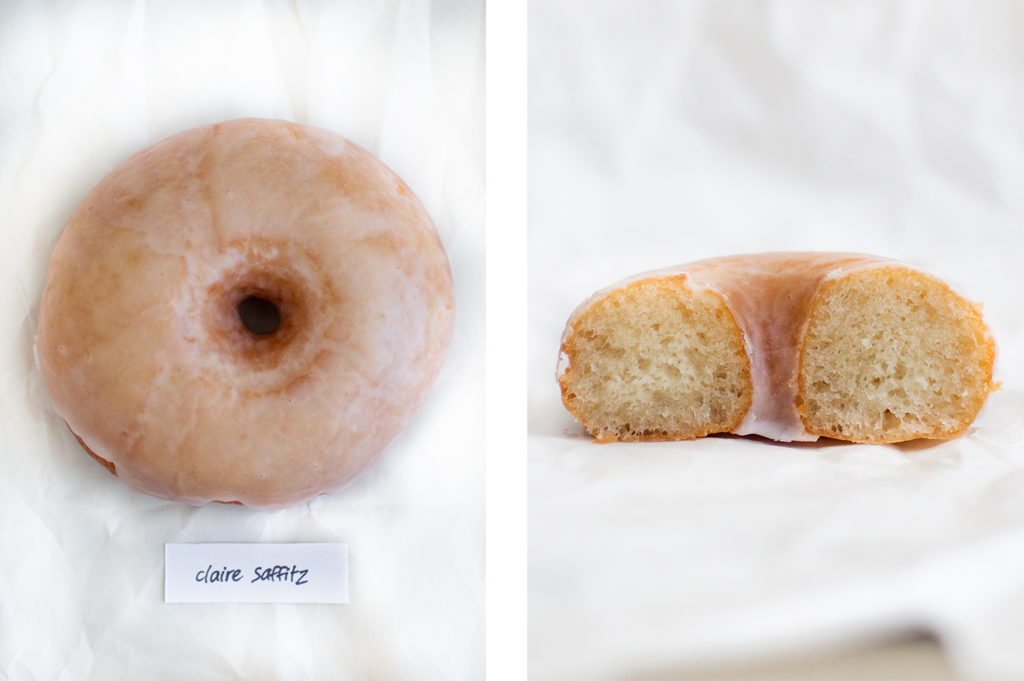 whole donut next to cross-section of donut cut in half