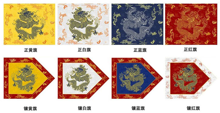 The eight banners of Qing society, from left to right: yellow, white, blue and red, with bordered versions of each underneath