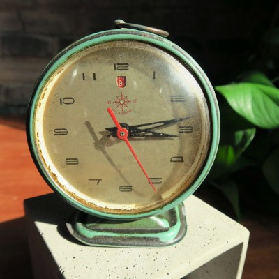 Close up view of vintage 60s Helm brand alarm clock