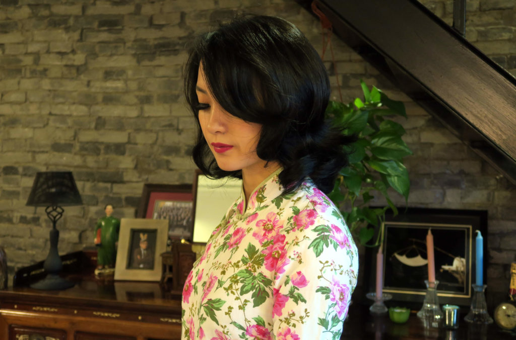 My long magenta floral qipao with my new short hair cut. In my old Shanghainese lane house apartment