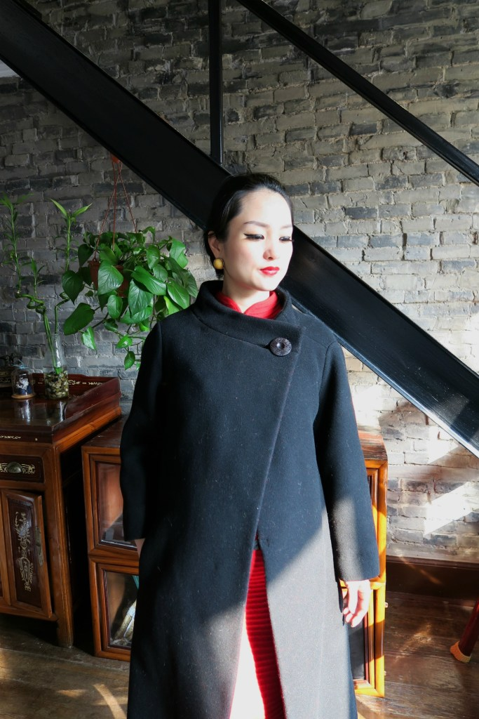 Red stretch wool qipao with vintage 1950s Dior coat