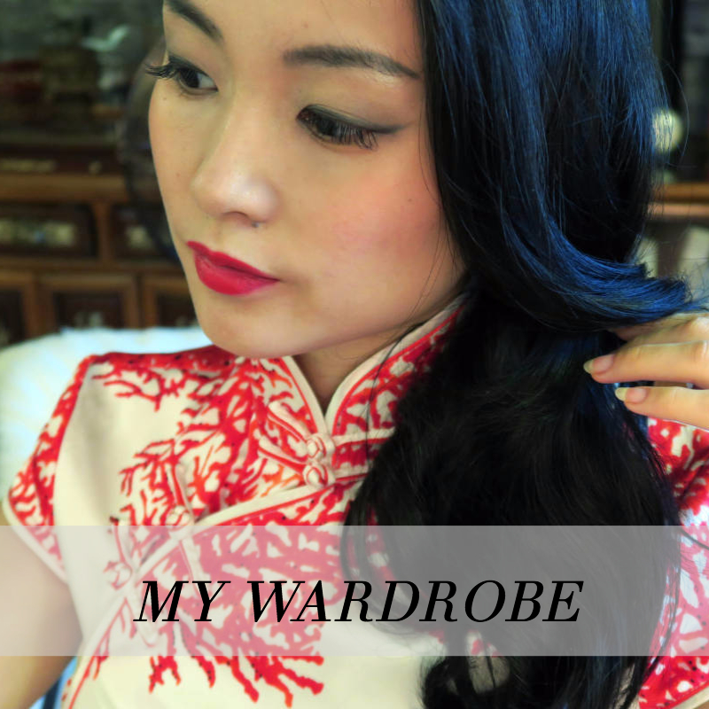 Me wearing a red and white qipao cheongsam