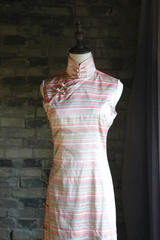 Pink striped sleeveless qipao cheongsam front