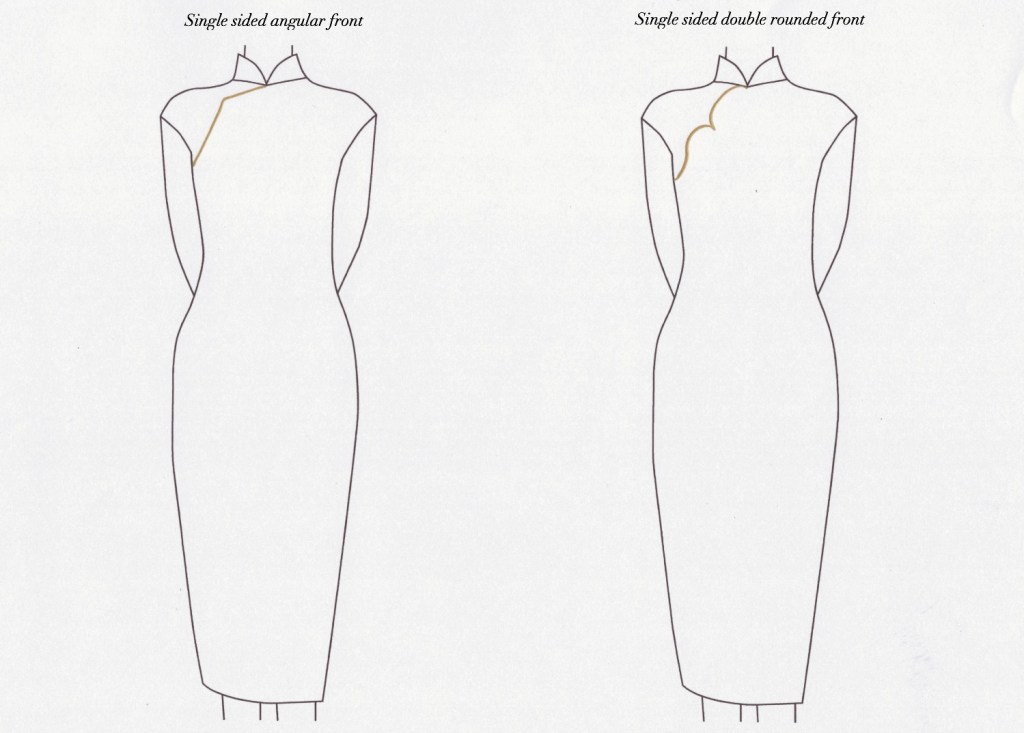 Angular and double rounded front (chest opening) for qipao