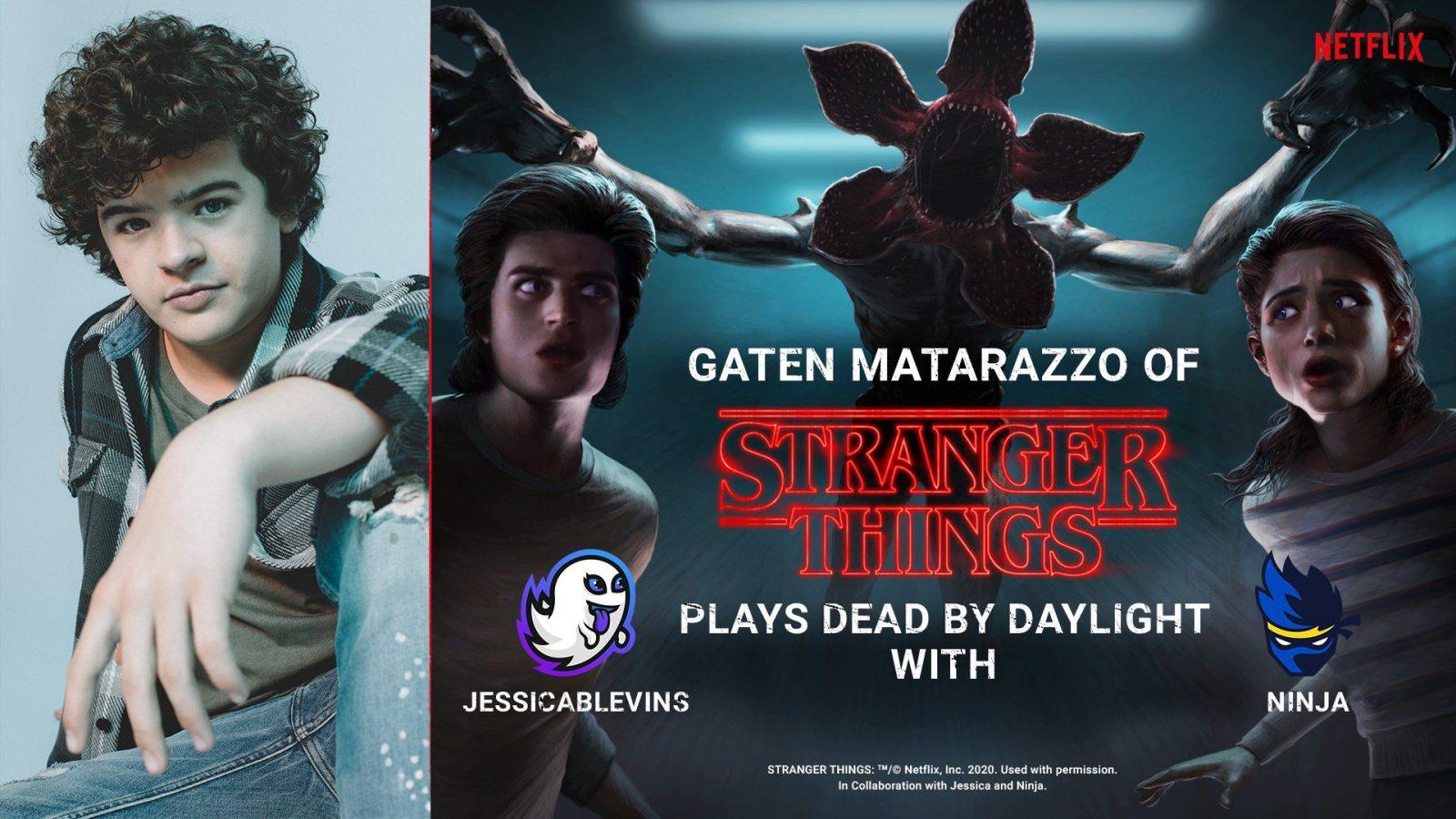Ninja and Stranger Things star Gaten Matarazzo will team up to play Dead by Daylight