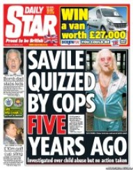 Daily Star (UK) Newspaper Front Page for 2 October 2012